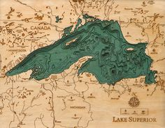 Explore the Underwater Topography of North American Lakes with these Laser-Cut Wood Maps by 'Below the Boat' #michigan #superior #map #topography #lake