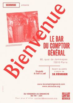 Le Bar du Comptoir Général | Works | Côme de Bouchony, Paris-based independent designer and art director #poster