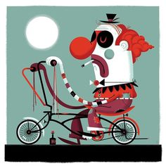 All: Whino The Clown #sky #clown #illustration #bike #invisible #creature