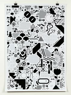 Poster de signes Lux / 2007 #white #icons #black #poster #and