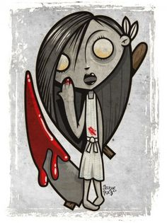 bloodlessgirl.jpg (400×533) #blood #red #girl #illustration #gray #zombie
