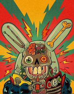 supersonic electronic / art - Ralph Niese. Illustrations by Ralph Niese. #skull #bunny