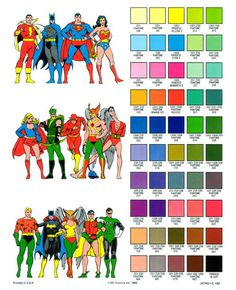 Superhero pantone references from the DC Comics style guide, 1982 #superhero #DC #comic
