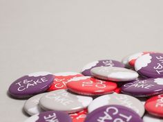 T&Cake : Lovely Stationery . Curating the very best of stationery design #cake #badge #print #button #purple #tea
