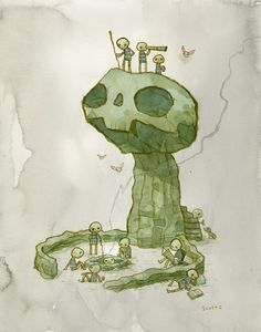 PyramidCar!: Tender Times Recap! #totem #tribe #rock #worship #statue #illustration #watercolour