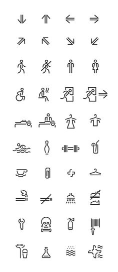monoline icons #line #vector #pictogram #icon #stroke #wayfinding #arrows #stencil