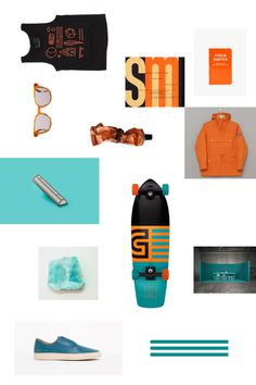 Cool product layout with orange and teal
