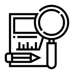 See more icon inspiration related to research, record, analytic graph, files and folders, business and finance, analysis, pencil, magnifying glass and file on Flaticon.