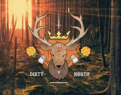 Dirty North by Everlong Design #illustration #poster #vector #sweden #nature #deer #axe #arrow #north #crown #crucifix #stag #sverige #norrb