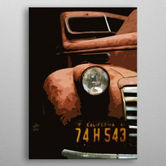 Computer graphic art print image file of old car in minimal geometric style. metal poster