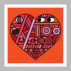 Image of Street Heart Giclxc3xa9e print on 310gsm Somerset Velvet Paper #patterns