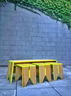 Stack Stools with Stack Bench by Kahokia Design, Brooklyn, NY. #wood #plywood #seating #paint #neon #stools #stool #bench #furniture #kahoki