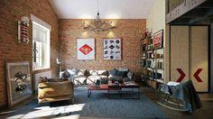 Attractive Loft apartment with an interior design made by Paul Vetrov - HomeWorldDesign (4) #interior #loft #apartments #design #decor #vintage