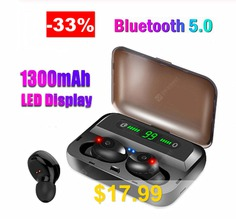 Z-YeuY #F9-5 #Bluetooth #Headset #5.0 #Headset #with #battery #display #Emergency #mobile #power #function