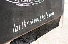 'The Rabbit Hole' chalkboard by Sophia Mary Mac  #typography #type #lettering #handtype #handlettering #chalk #chalkboard #blackboard #layou