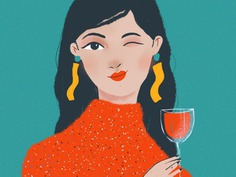 Wine for Valentine #illustration #girl #procreate #wine #red