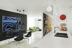 Harrison Avenue apartment with a colorful panelized felt wall