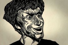 Wood Cut Print #portrait #crazy #monotone #joker