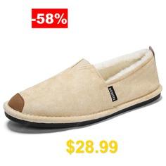 Men's #Autumn #and #Winter #Cotton #Shoes #Casual #Plus #Velvet #Peas #Footwear #- #BEIGE