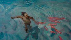 Michael Ramsauer - Schwimmer   Daily Art Fixx Shop - Contemporary Art Gallery #painting #artist #art
