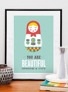 Russian Doll print poster inspirational art quote art by handz #quote #print #russian #matryoshka #doll #illustration #poster #art #typography