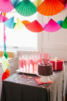 Rainbow Party | Oh Happy Day! #paper #colour #birthday #party decoration