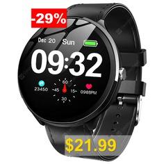 Kospet #V12 #Leather #Smart #Watch #- #BLACK