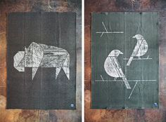 Birds_Bison_Flat_Update #print #design #woodblock