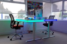 Adjustable Smart Table Design With Ambient LED Lighting: TableAir #office #home #workspace #lighting #led