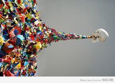 9GAG - Death by Confetti #colourful #graphic #confetti #skull #death