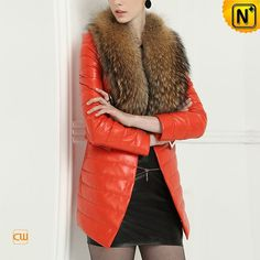 Womens Winter Down Filled Coat with Fur Collar CW613582 #women #leather #coat