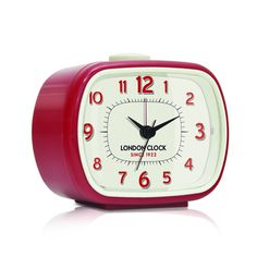 London Clock Company 'GEO' Alarm Clock, Red 8.5cm x 10.5cm x 5.5cm