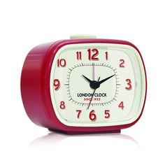 London Clock Company 'GEO' Alarm Clock, Red 8.5cm x 10.5cm x 5.5cm