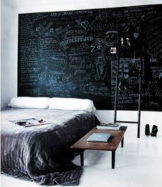 Chalkboard with ladder #blackboard #bedroom