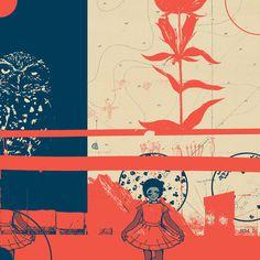 Fragments Tile 8/12 Art Print #mountain #owl #print #geometric #map #bird #grid #art #flowers