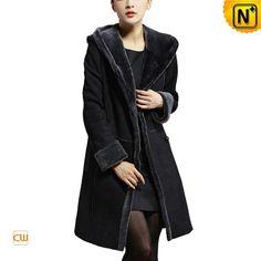 Long Hooded Shearling Coat Women CW640210