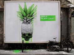Ludo, 'Greed Is The New Color', Paris - unurth | street art #paste #ludo #art #street #wheat