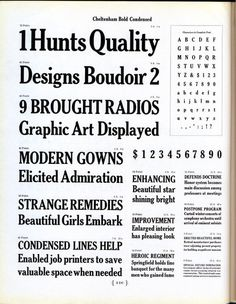 Cheltenham Bold Condensed was designed by M. F. Benton by for ATF in 1904. #type #specimen #typography