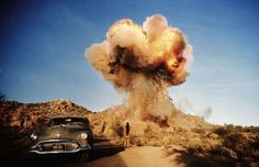 "On the set of ""Zabriskie Point"" directed by Michelangelo Antonioni, USA, 1968. #mushroom #explosion #cloud #pyrotechnics #photography #vintage #film"