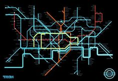 If Only the London Underground Trains Went as Fast as Tron Light Cycles #neon #london #maps #tron