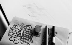 Hand Drawn, Typography, Pencil, ink, calligraphy