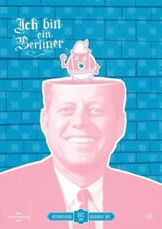 International Doughnut Day - Marcus Taylor of Studio Papa. #ichbineinberliner #screenprinting #johnnytwotoneclub #pink #doughnut #jfk #jttc #wall #donut #blue #berlinwall #jelly #german #pastel