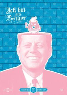 International Doughnut Day - Marcus Taylor of Studio Papa. #ichbineinberliner #screenprinting #johnnytwotoneclub #pink #doughnut #jfk #jttc #wall #donut #blue #berlinwall #jelly #german #pastel