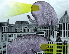 This is a drawing of the view from my new D.C. apartment roof top (minus the friendly, laser-eyed, hairy monsters)... www.anditisgood.com #dc #of #monsters #illustration #art #dupont #circle #district #skyline #columbia