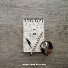 Notepad and watch Free Psd. See more inspiration related to Mockup, Paper, Clock, Doodle, Pencil, Pen, Mock up, Watch, Notes, Notepad, Up, Male, Note paper, Objects, Things, Composition, Mock and Masculine on Freepik.