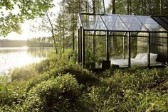 Greenhouse bed.Yes. #bedroom #nature #architecture #garden #shed