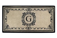 "Create your own style with this decorative Border Coco Fiber Door Mat. Durable and beautiful, this mat keeps shoes clean to protect your floors from mud, dirt and grime. It is flexible, robust and durable. This mat provides exceptional brushing action on footwear with excellent water absorption. Specification - Monogrammed Double Doormat with (G-Letter). Product Dimensions - *36"" x 72"" x 1.5"""