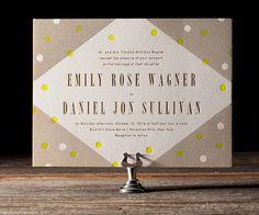 Modern Dot Letterpress Wedding Invitations by Erin Jang #invitation #print #letterpress #deboss #overlay #wedding