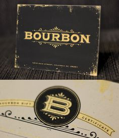 Bourbon Gift Certificate #certificate #gift #gift certificate #bourbon #foil stamp #lettering