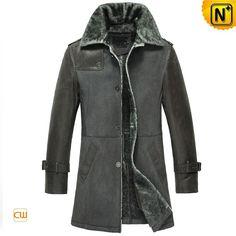 Leather Shearling Winter Coat for Men CW856068 #mens #shearling #coat